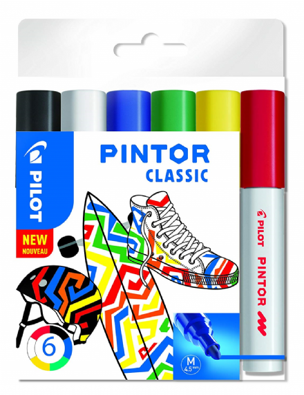 Pilot Pintor Classic Medium Line Bullet Paint Marker 4.5mm Tip- (Wallet of 6)